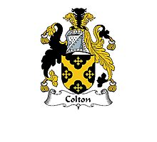 Coat of arms (family crest) for last-name or surname Colton . Heraldry banner for your name. Photographic Print