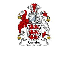 Coat of arms (family crest) for last-name or surname Combe . Heraldry banner for your name. Photographic Print