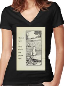 The Tale of Peter Rabbitt Beatrix Potter 1916 0051 Climbed on a Wheel Barrow and Pepped Over Women's Fitted V-Neck T-Shirt