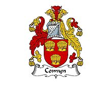 Coat of arms (family crest) for last-name or surname Comyn . Heraldry banner for your name. Photographic Print