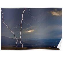 Lightning Storm Overlooking Boulder Poster