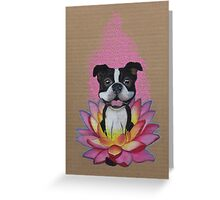 Zen Boston Terrier - Lotus Flower Greeting Card
