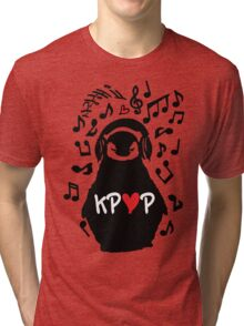Penguin listen to kpop Tri-blend T-Shirt