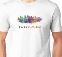Fort Lauderdale skyline in watercolor Unisex T-Shirt