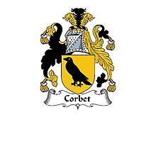 Coat of arms (family crest) for last-name or surname Corbet . Heraldry banner for your name. Photographic Print