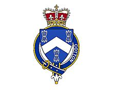 Coat of arms (family crest) for last-name or surname Cotton (England) . Heraldry banner for your name. Photographic Print