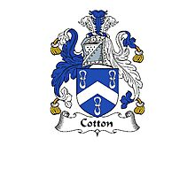 Coat of arms (family crest) for last-name or surname Cotton . Heraldry banner for your name. Photographic Print