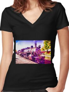 Saturated Steam Train Women's Fitted V-Neck T-Shirt