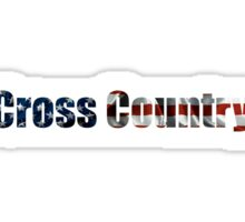 American Flag Cross Country Sticker