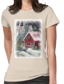 Christmas Red Barn Womens Fitted T-Shirt