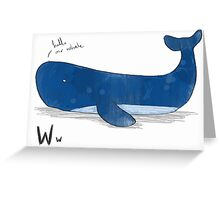 """Hello Mr Whale"" Greeting Card"