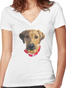 Red Collar 2 Women's Fitted V-Neck T-Shirt