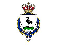 Coat of arms (family crest) for last-name or surname Crane (England) . Heraldry banner for your name. Photographic Print