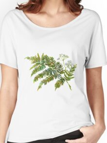Watercolor fern and flowers Women's Relaxed Fit T-Shirt