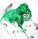 girl with green hair &amp; bird by Loui  Jover