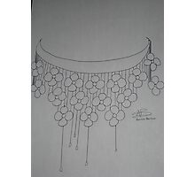 Flower necklace sketch -BW Photographic Print