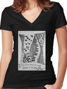 For the Love of Music Women's Fitted V-Neck T-Shirt