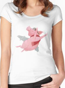 Joyful Flying Pink Pig with Red Scarf Women's Fitted Scoop T-Shirt