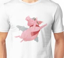 Joyful Flying Pink Pig with Red Scarf Unisex T-Shirt