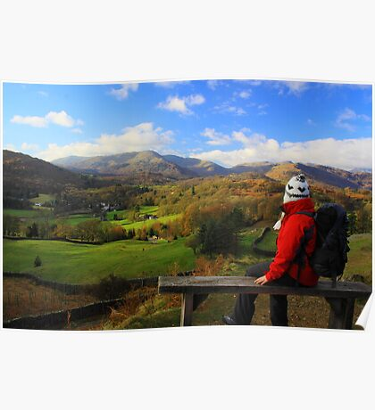 A View In The Lake District (sitting on Loughrigg) Poster