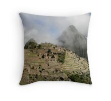 Machu Picchu in the mist, Peru, South America Throw Pillow