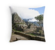 Machu Picchu, in the clouds, Peru Throw Pillow