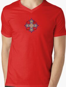 Coptic Orthodox Cross with text on blue Mens V-Neck T-Shirt