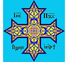 Coptic Orthodox Cross with text on blue Photographic Print