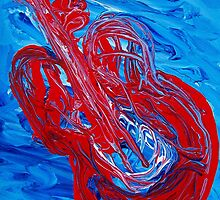 Guitar Abstract Impressionism by William  Boyer