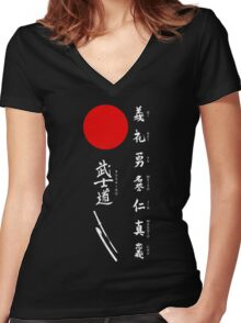 Bushido and Japanese Sun (White text) Women's Fitted V-Neck T-Shirt