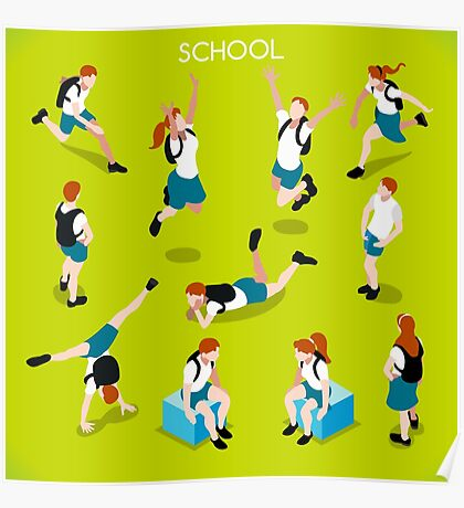 Students Set - Isometric People Poster
