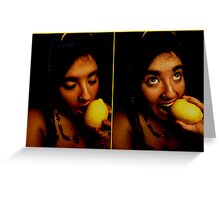 Eating The Lemon, I Am A Savage. Greeting Card