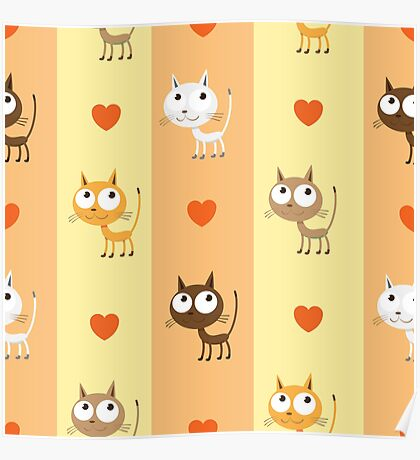 Pattern with kittens. Poster