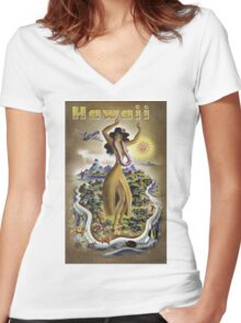 Vintage Hawaii Poster Women's Fitted V-Neck T-Shirt
