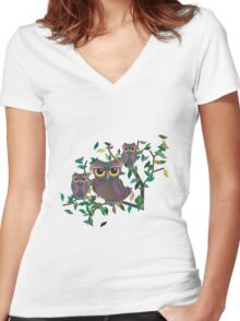 Owls on a Branch Women's Fitted V-Neck T-Shirt