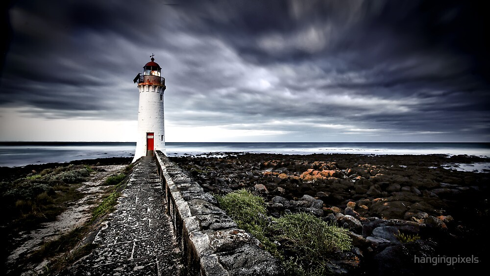 Port Fairy Lighthouse In Storm by hangingpixels