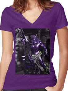purple warrior Women's Fitted V-Neck T-Shirt