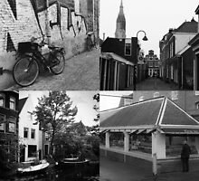 Photo collage Delft 7 in black and white by kultjers