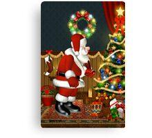 Santa`s Visit Canvas Print
