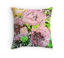 7 DAYS OF SUMMER- DISTRESSED FLORALS/PINK PEONY Throw Pillow