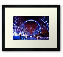 Christmas time at the London eye Framed Print