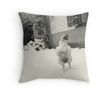 chicken in the snow Throw Pillow
