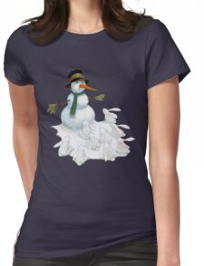 Snowman with Carrot Nose Facing Hungry Bunnies Womens Fitted T-Shirt