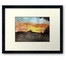 Watercolor Sunset Framed Print