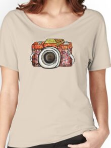 Patchwork Camera Women's Relaxed Fit T-Shirt