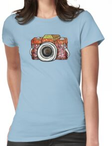 Patchwork Camera Womens Fitted T-Shirt