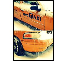 taxi in the snow Photographic Print