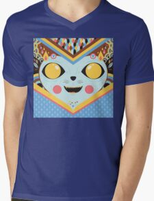 KUCING Mens V-Neck T-Shirt