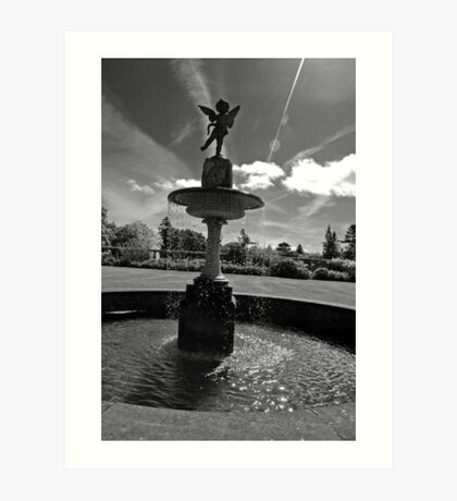 Water fountain with an angel Art Print