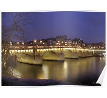 A cold evening on the Pont Neuf, Paris Poster